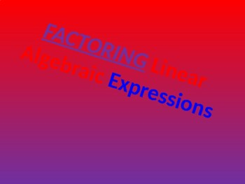 Factoring Binomial Expressions