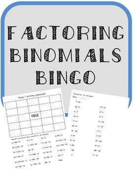 Factoring Binomials BINGO