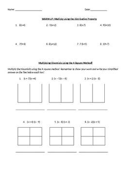 Factoring Binomials (FOIL) Worksheet + Homework