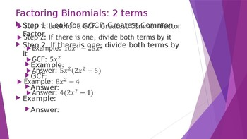 Factoring Binomials and Trinomials