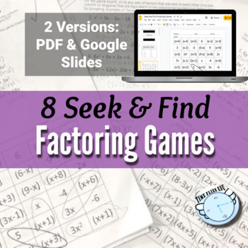 Factoring Polynomials {using a Seek and Find Activity - 8 Different Games}