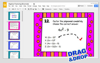 Factoring Binomials The Difference of Squares with GOOGLE™ Slides for Algebra