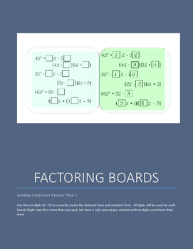 Factoring Boards - Leading Coefficient Greater Than 1