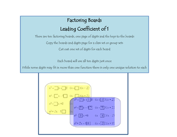 Factoring Boards - Leading Coefficient of 1