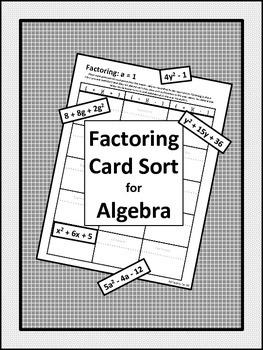 Factoring Card Sort for Algebra