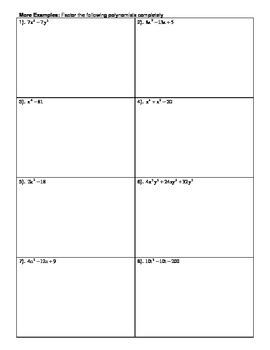 Factoring Completely Worksheet
