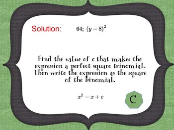 Factoring: Completing the Square (a=1) Scavenger Hunt