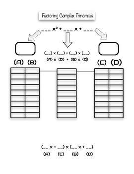 Factoring Complex Quadratics Organizer