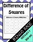 Factoring Difference of Squares BINGO Race