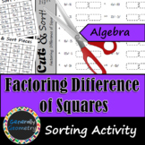 Factoring Difference of Squares Cut and Sort   Algebra 1