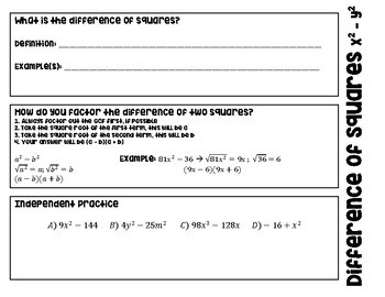 Factoring Difference of Squares Foldable