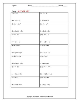 Factoring Trinomials Special Cases Difference Of Squares Worksheet