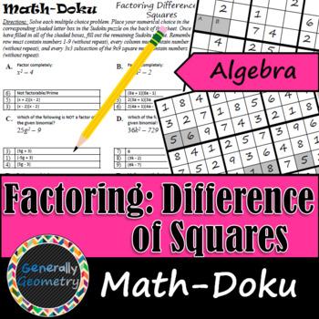 Factoring: Difference of Squares Math-Doku; Algebra 1, Sudoku