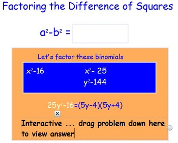 Factoring Difference of Squares SmartBoard