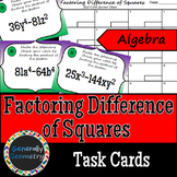 Factoring Difference of Squares Task Cards; Algebra 1