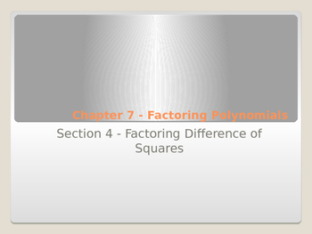 Factoring Difference of Two Squares with Foldable