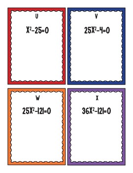 Factoring Differences of Perfect Squares Task Card Bingo