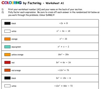 Factoring Dory & Nemo, 20-Worksheet Collaborative Math Mosaics