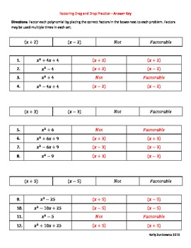 Factoring Drag and Drop Practice - Common Core