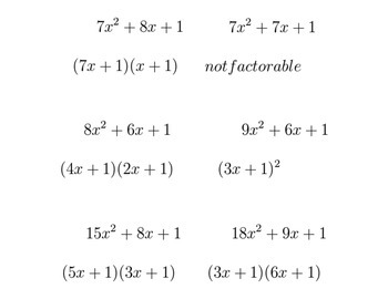 Factoring Equations (c=1, free version)