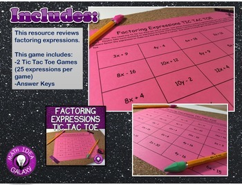 Factoring Expressions Activities and Game Pack
