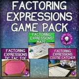 Factoring Expressions Activities and Game Bundle