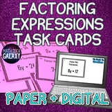 Factoring Expressions Mini Task Cards