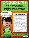 Factoring Expressions - Order Up! Set 1