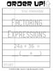 Factoring Expressions - Order Up! Set 1