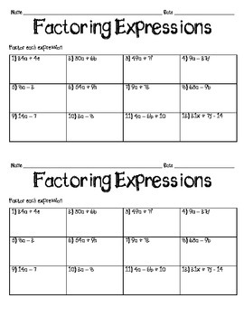 Factoring Expressions Practice