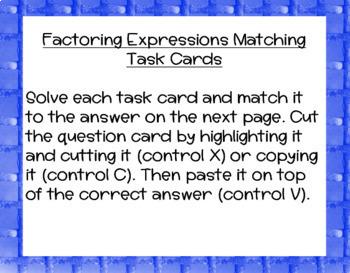 Factoring Expressions Task Card DIGITAL Activity
