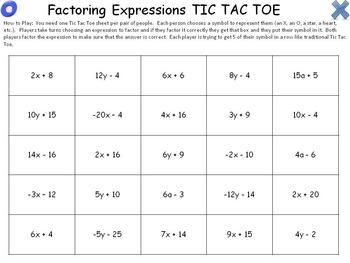 Factoring Expressions Activity- Tic Tac Toe