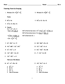 Factoring: Factor by Grouping