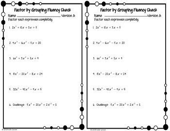 Factoring : Factor by Grouping Fluency Check / Quiz : No Prep Fluent in Math