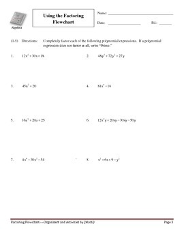 Factoring Flowchart with Practice--Black and White