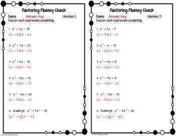 Factoring Fluency Check Bundle:  Quadratics only : No Prep Fluent in Math