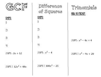 Factoring Foldable/Brochure