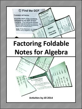 Factoring Foldable Notes for Algebra