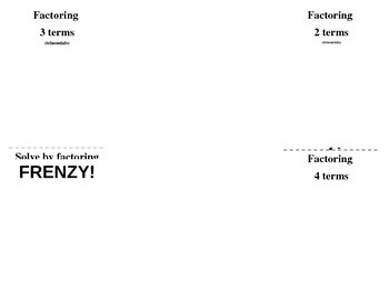 Factoring Frenzy Foldable