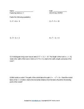 Factoring Fun 4 Worksheet Packet by Timothy Unkert | TpT