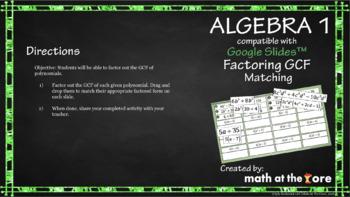 Factoring GCF - Matching - GOOGLE Slides