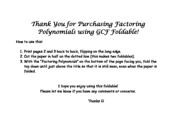 Factoring GCF from Polynomials Foldable