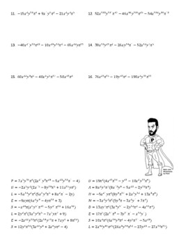 Factoring GCF out of Polynomials Joke Worksheet with ...