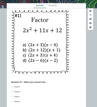 Factoring Google Bundle - (10 Google Forms, Video Lessons & Notes!)