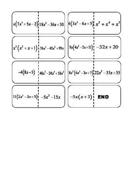 Factoring Greatest Common Factor (GCF) Dominos