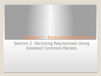 Factoring Greatest Common Factor with Foldable