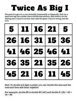 Factoring: Halving and Doubling Big Numbers Games