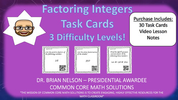 Factoring Integers (30 Task Cards – 3 different difficulty levels)