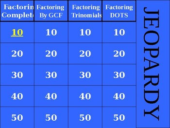 Factoring - JEOPARDY powerpoint - Algebra