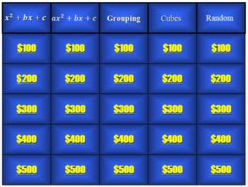 Factoring Jeopardy and HW